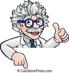 scientifique, dessin animé, au-dessus, signe