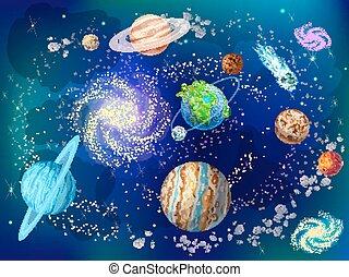 scientifique, dessin animé, fond, espace