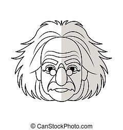 scientifique, dessin animé, homme, icône