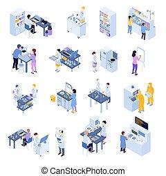 scientifique, ensemble, laboratoire, isométrique, icône