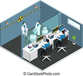 scientifique, isométrique, laboratoire, concept