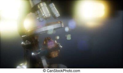 scientifique, retro, laboratoire, vieux, microscope