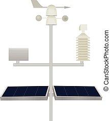 scientifique, station météorologique, à, panneaux solaires