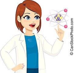 scientifique, toucher, femme, atome