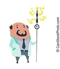 scientifique, vecteur, stereotype., laboratoire, lab., prof, illustration, coat., blanc, fou, fond, fou, isolé, docteur, laboratoire, recherche, mal, scientist.