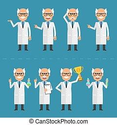 scientifique, vieux, poses, divers