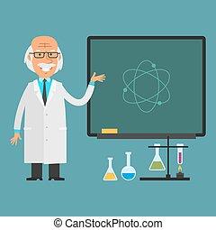 scientifique, vieux, tableau, points