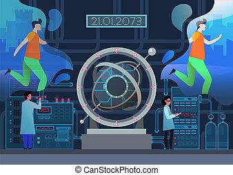 scientifiques, machine, temps, laboratoire, portail, portail