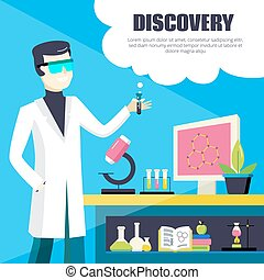 Scientist And Laboratory Discovery Illustration