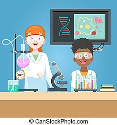 Scientist and student in chemistry laboratory