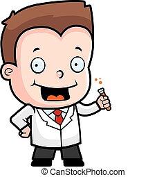Scientist Boy - A happy cartoon boy scientist with a test...