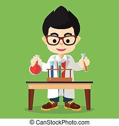 Scientist boy doing experiment