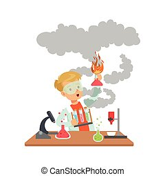 Scientist boy looking dirty holding an exploding test tube, schoolboy doing science experiment vector Illustration