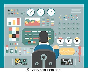 Scientist businessman work in front of control panel...
