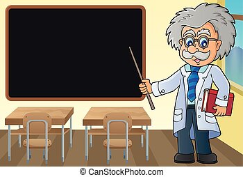 Scientist by blackboard theme image 1 - eps10 vector...