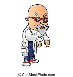 scientist., cartone animato, pazzo