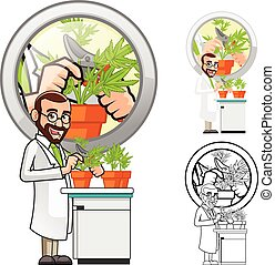 Scientist Cartoon Character - High Quality Plant Scientist...
