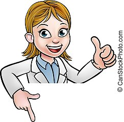 Scientist Cartoon Character Sign