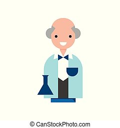 Scientist character, professor wearing a lab coat vector Illustration on a white background