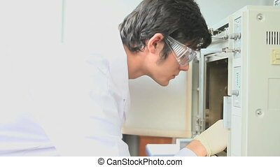 Scientist checking an incubator