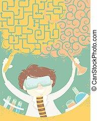 Scientist Chemical Combine Logic Art Illustration