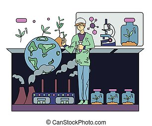 Scientist chemist or ecologist. Science experiment. Vector...