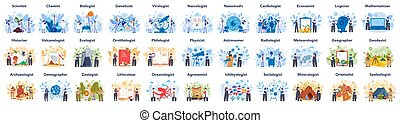 Scientist concept set. Idea of education and innovation. ...