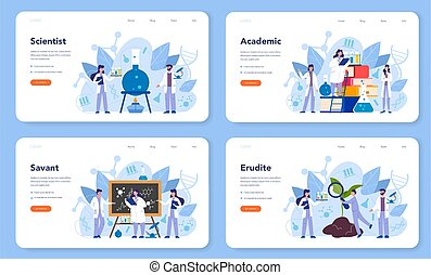 Scientist concept web banner or landing page. Idea of ...