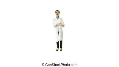 scientist doctor isolated on white confident with a check list