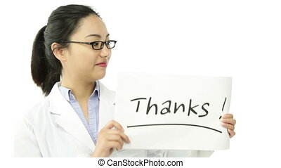 scientist doctor isolated on white gratefull with thanks sign