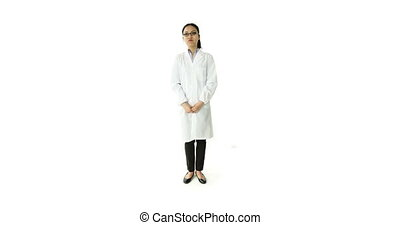 scientist doctor isolated on white looking for a solution
