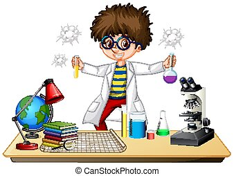 Scientist doing experiment in science lab