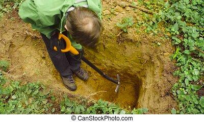 Scientist ecologist in a forest digging soil slit -...