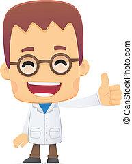 scientist., en, vario, posturas