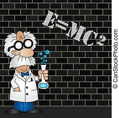 Scientist equation - Cartoon Scientist equation graffiti on...