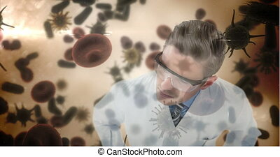 Scientist examining bacteria infection cells 4k