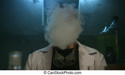 Scientist exhales smoke and disappears from the underground laboratory