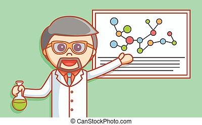 Scientist explaining formula