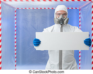scientist holding ad banner in quarantine chamber