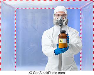 scientist holding deadly substance