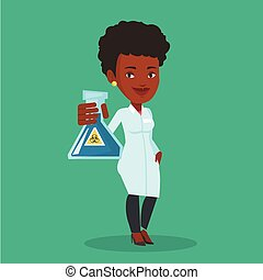 Scientist holding flask with biohazard sign. - Laboratory...