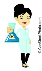Scientist holding flask with biohazard sign.