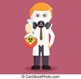 scientist holding hazardous tube