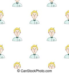 Scientist icon in cartoon style isolated on white background. People of different profession pattern stock vector illustration.