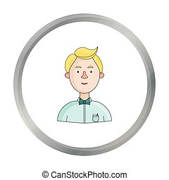 Scientist icon in cartoon style isolated on white background. People of different profession symbol stock vector illustration.
