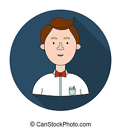 Scientist icon in flat style isolated on white background. People of different profession symbol stock rastr illustration.