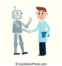Scientist in a lab coat shaking hands with robot