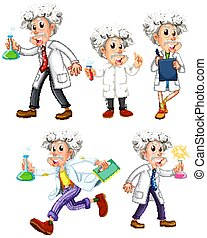 Scientist in different poses on white background
