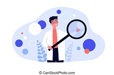 Scientist in lab coat checking algorithm flat vector illustration. Cartoon character with magnifier researching artificial neurons. Science, technology and neuroscience concept