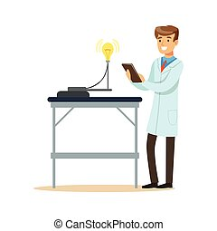 Scientist in modern laboratory conducting experiments with lamp bulb